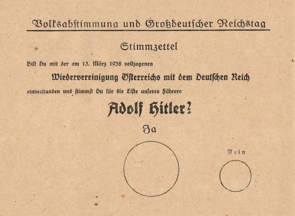 Der Stimmzettel zum Anschluss Österreichs an das Deutsche Reich